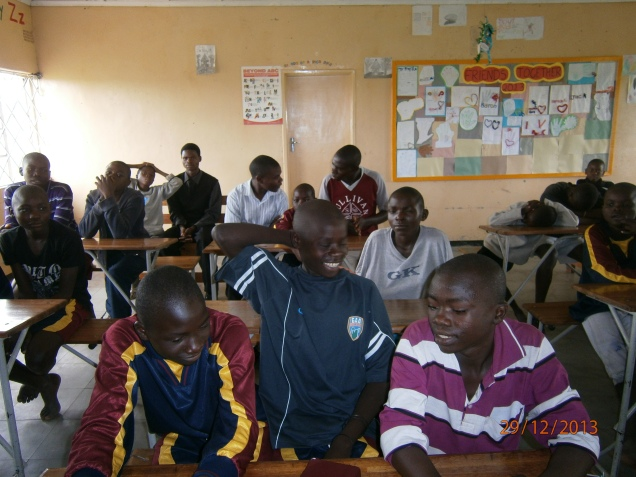 School boys, ex street children, classroom