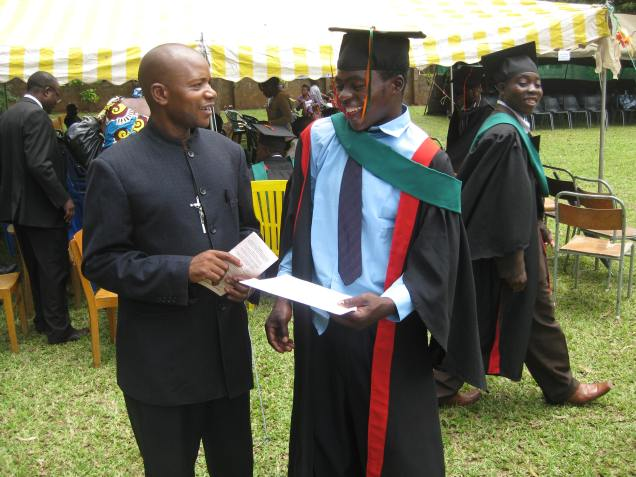 Young African man at graduation ceremony