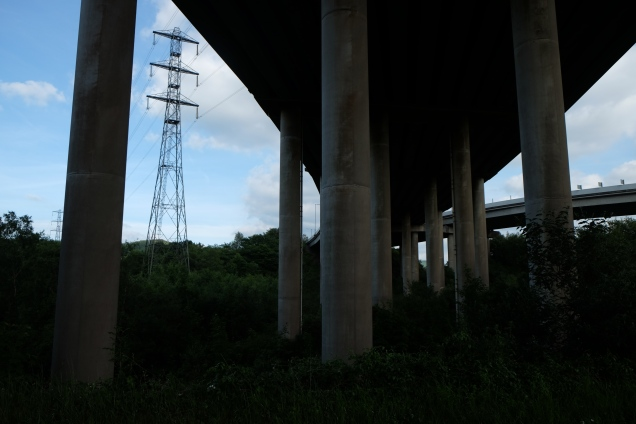 Motorway junction seen from below, pylon and pillars
