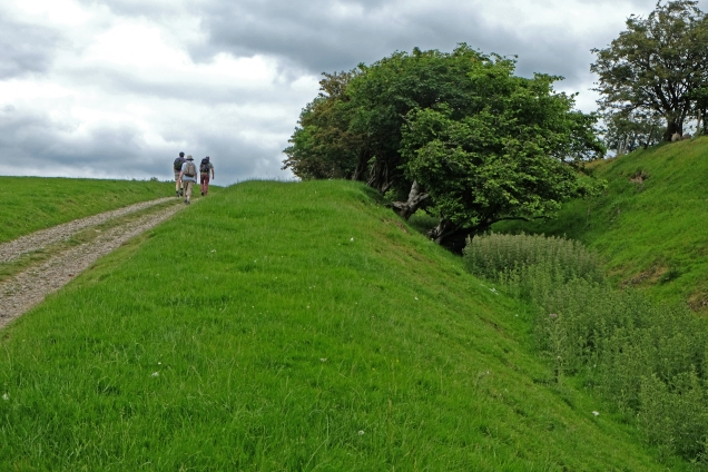 Offa's Dyke, three men walking north a long the western fosse