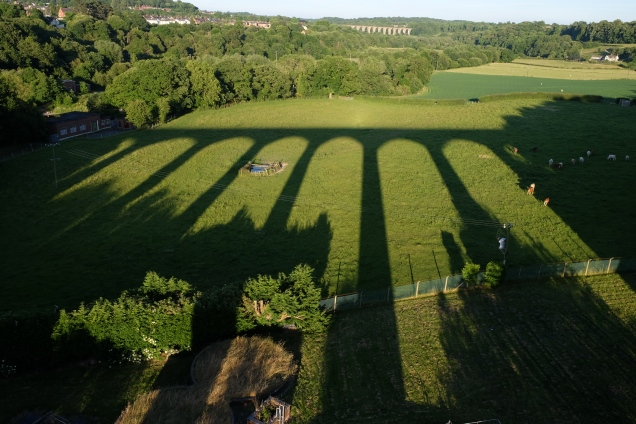 Aqueduct shadow over fields, shadow of Pontcysyllte Aqueduct
