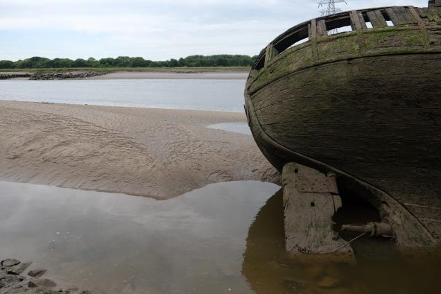 Abandoned wooden boat low tide Rivrer Dee