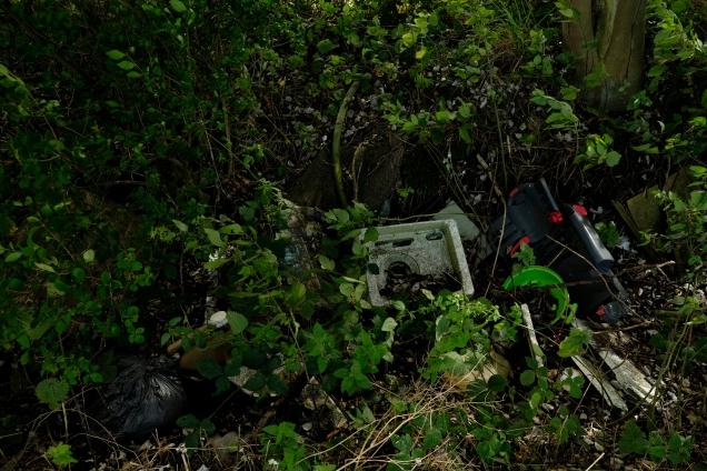 rubbish in a ditch