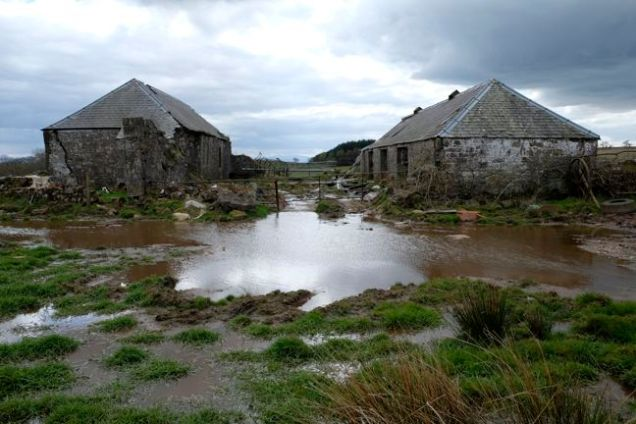 ruined buildings, large puddle grey skies