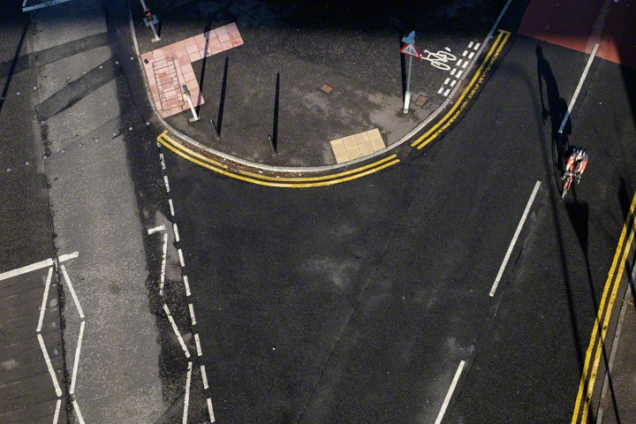 Road Markings at Queensferry seen from the Forth Road Bridge